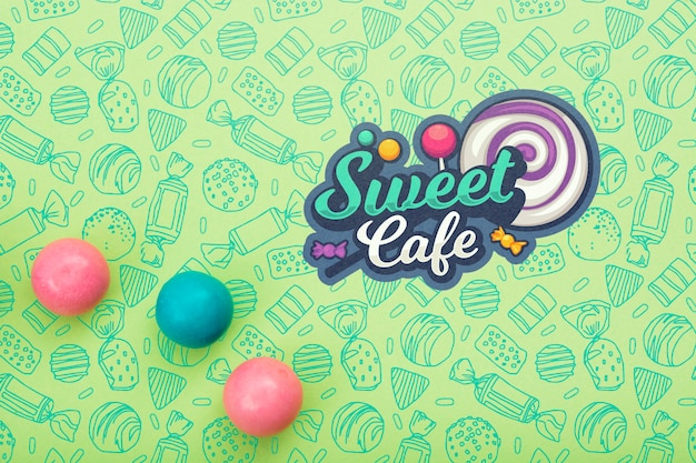 Sweet cafe with lollipop and gum