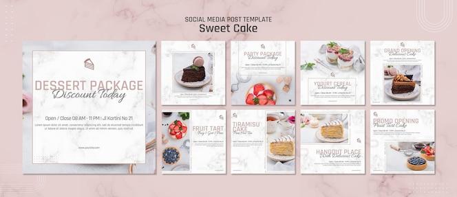 Modello di post sui social media di pasticceria dolce
