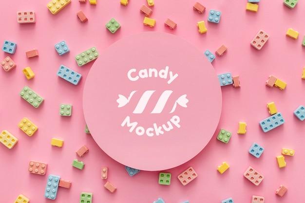 Sweet candies arrangement with mock-up