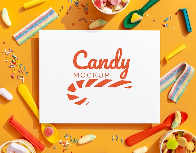 Sweet candies assortment with mock-up