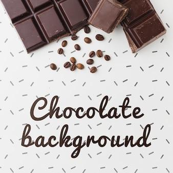 白い背景のモックアップと甘いチョコレートバー