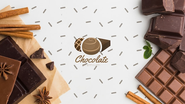 Сладкий шоколад с белым фоном макет