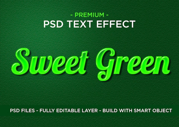 Sweet green premium photoshop psd styles text effect