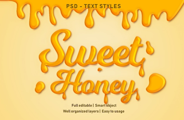 Sweet honey text effects style editable psd