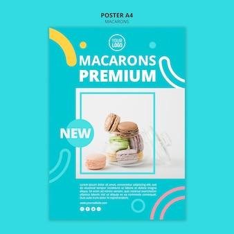 Modello di poster premium di macarons dolci