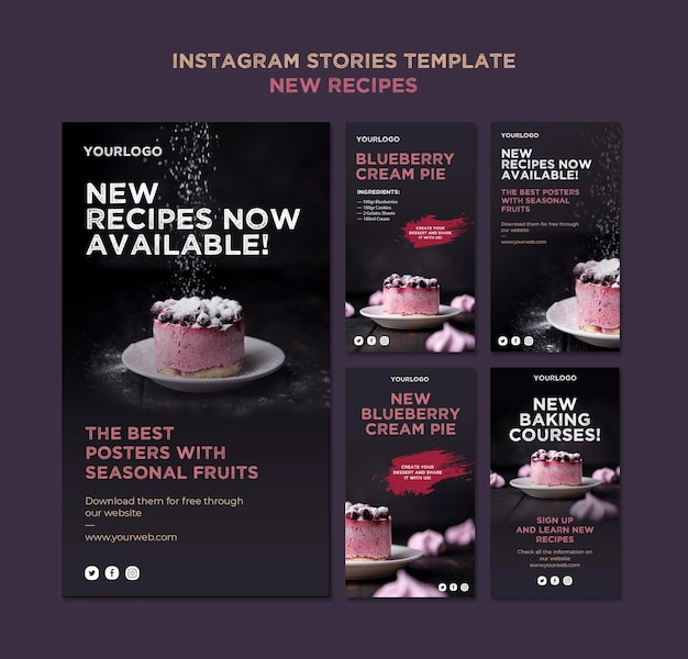 Sweet recipes instagram stories template