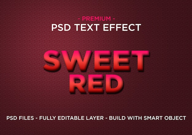 Sweet red premium photoshop psd styles text effect