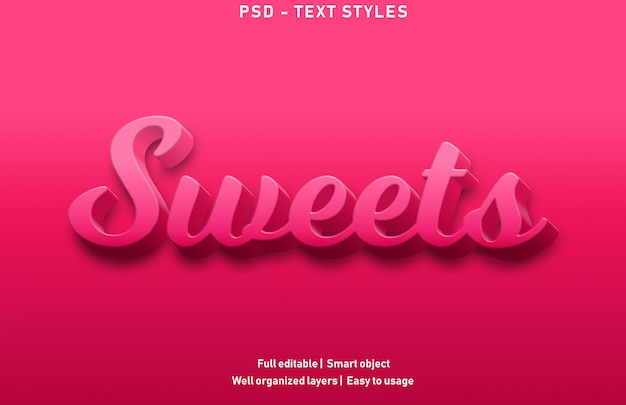 Sweets text effects style premium editable