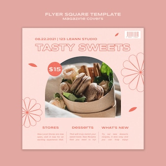 Sweets and treats square flyer template
