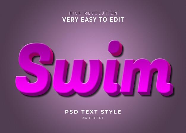 Swim modern 3d text effect