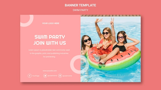 Swim party banner template