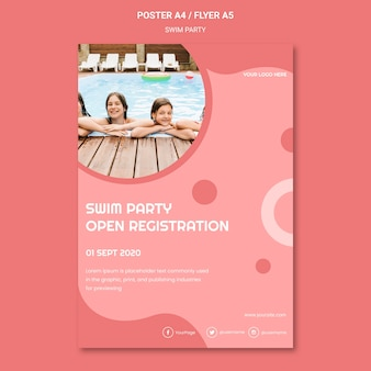 Swim party flyer template