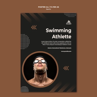 Swimming athlete poster print template