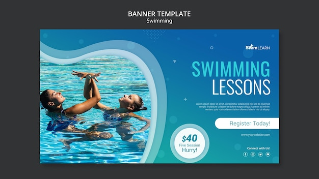 Swimming banner template with photo