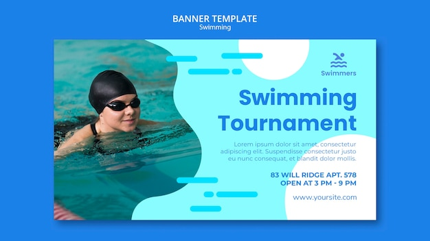 Swimming banner template