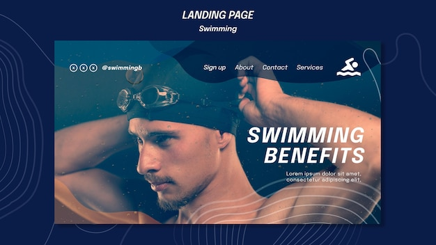 Swimming benefits landing page template