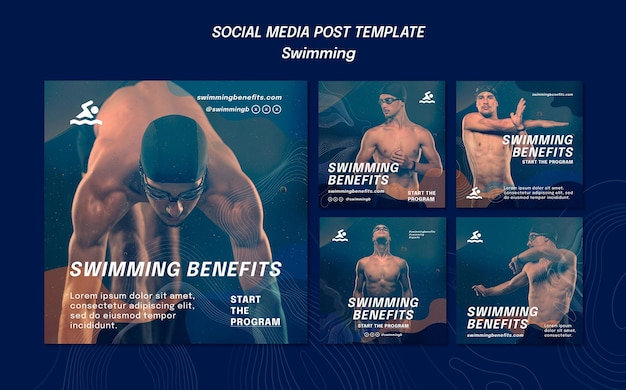 Swimming benefits social media post template