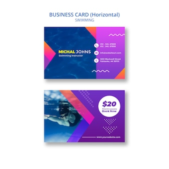 Swimming business card template