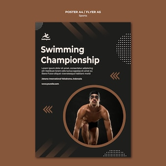 Swimming championship poster print template