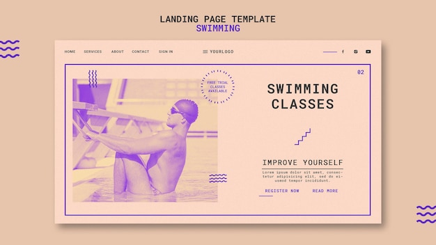 Swimming classes landing page template