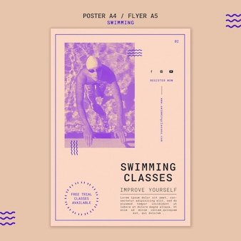 水泳教室の印刷テンプレート