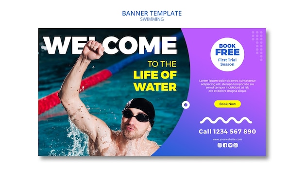 Swimming concept for banner design