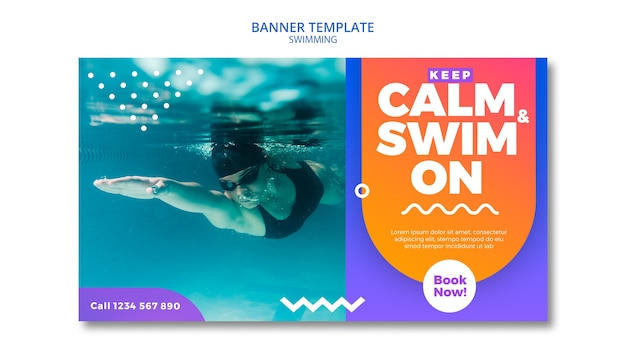 Swimming concept for banner theme