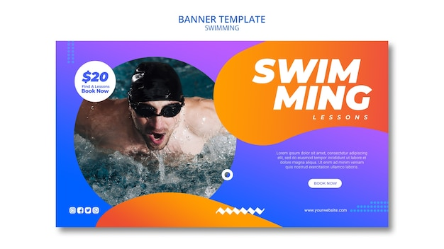 Swimming concept for banner