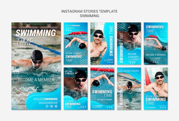 Swimming concept for instagram stories