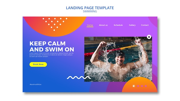 Swimming concept for landing page design