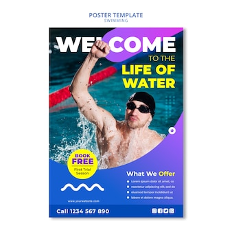 Swimming concept for poster template