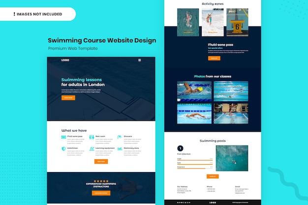 Шаблон дизайна веб-сайта курса плавания