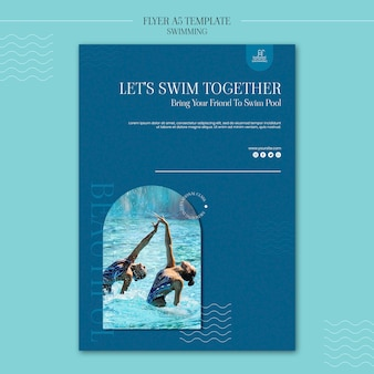 写真付きの水泳チラシテンプレート