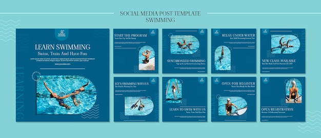 Swimming instagram posts template with photo