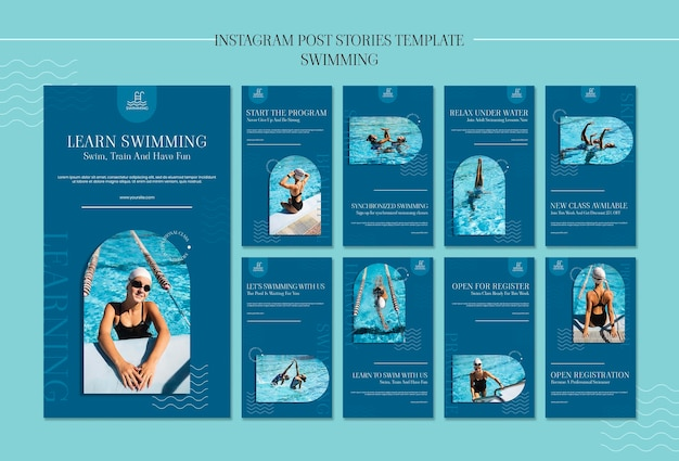 Swimming instagram stories template with photo