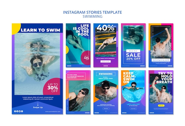 Swimming instagram stories template