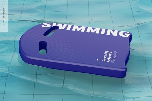 Swimming kickboard floating on the pool mockup