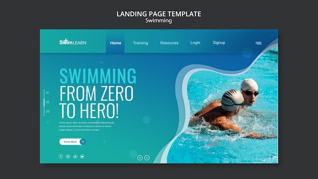 Swimming landing page with photo