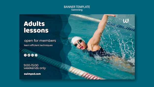 Swimming lessons for adults banner template