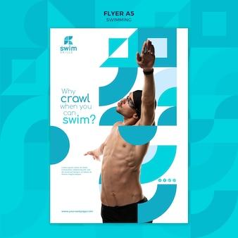 Modello di volantino per lezioni di nuoto