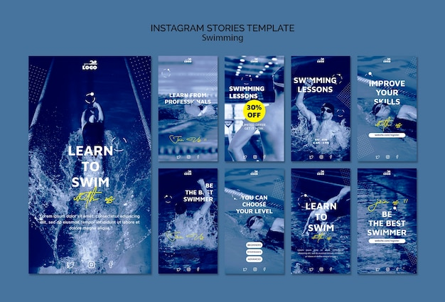 Swimming lessons instagram stories template