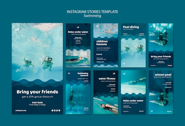Swimming lessons instagram stories templates