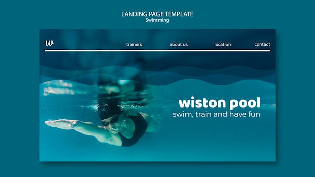 Swimming lessons landing page template
