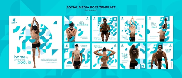 Swimming lessons social media posts template