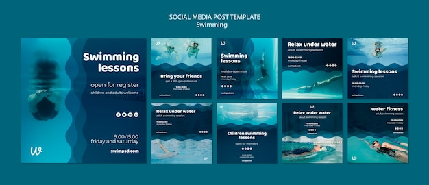 Swimming lessons social media posts templates