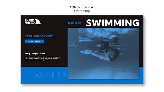 Swimming pool club banner template