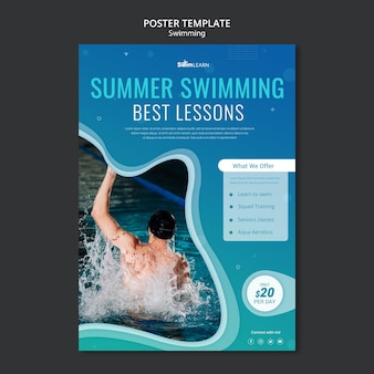 Swimming poster template with photo