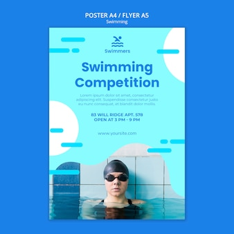 Swimming poster template