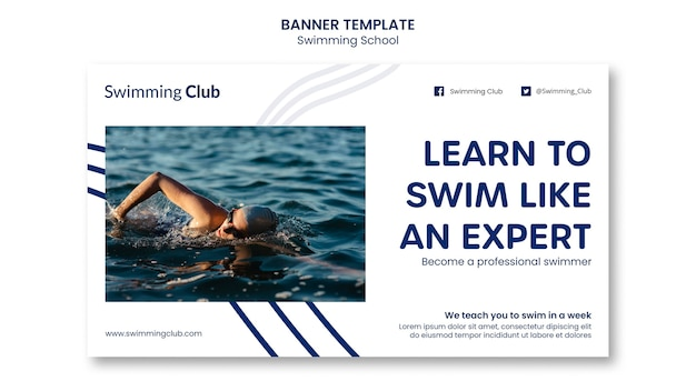 Swimming school banner template
