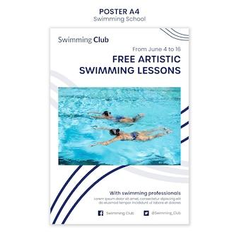 Шаблон плаката школы плавания